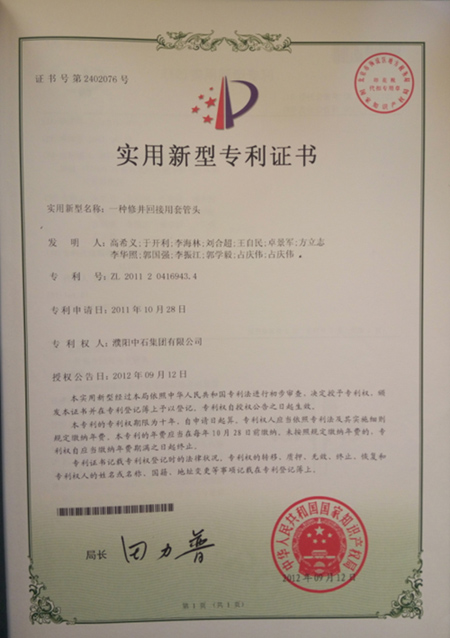 Patent certificate for casing head for workover